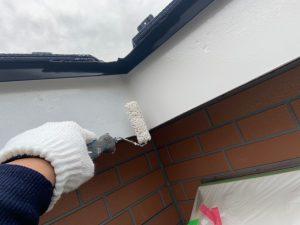 外壁塗装工事 大屋根板金シーラー塗り