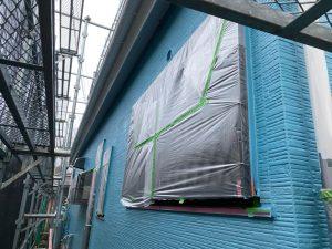 外壁2面に下塗り塗装
