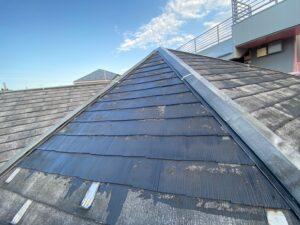 軒天ライン出し、屋根下塗り